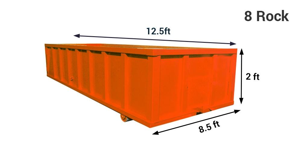 8 yard dumpster bin rental and 8 yard rock box